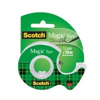 Teippi Scotch Magic 810 12mm x 10m + katkoja - matta, ei murru eikä kellastu, ei näy kopiokoneessa