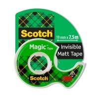 Teippi Scotch Magic 810 19mm x 7.5m + katkoja - matta, ei murru eikä kellastu, ei näy kopiokoneessa