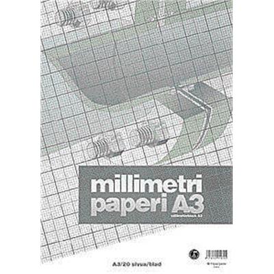 Millimetrilehtiö A3/20 oranssi - millimetripaperi tarkkaan piirtämiseen