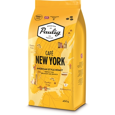 Kahvi Paulig Café New York papu 450g x 8 kpl - keskitumma ja vivahteikas kahvipapu