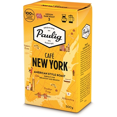 Kahvi Paulig Café New York SJ 500g - keskitumma ja vivahteikas suodatinjauhatus