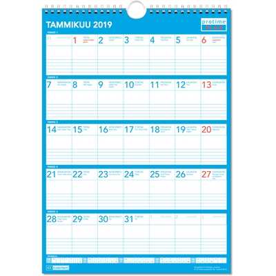 Protime Plan 2018 seinäkalenteri