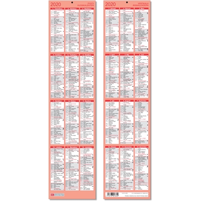Pysty vuosikalenteri 2020 taulukkokalenteri - CC Kalenteripalvelu
