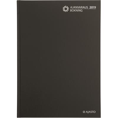 Ajanvaraus/Bokning 2018 musta sidottu pöytäkal