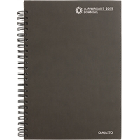 Ajanvaraus/Bokning 2019 harmaa kierres pöytäkalenteri