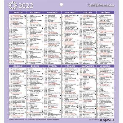Seinäalmanakka/Väggalmanackan 2022 seinäkalenteri - Ajasto