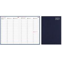 Aikamuistio 2021 ommeltu pöytäkalenteri - CC Kalenterit - kellonajat myös la ja su